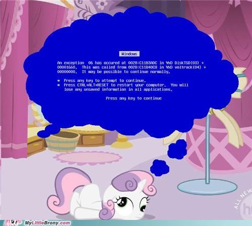 an error,blue screen of death,ponies,Sweetie Belle,windows