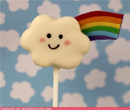 cake pop cloud epicute face happy rainbow - 5401576192