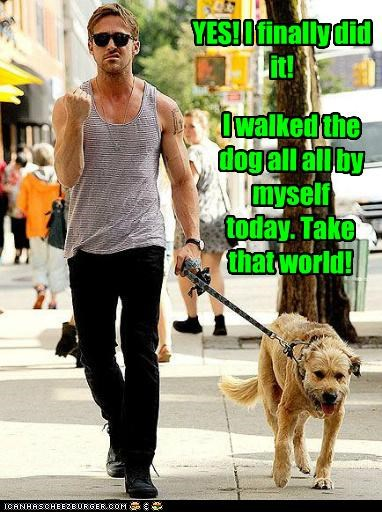 actors,big kid,dogs,Ryan Gosling,success,take that,walking