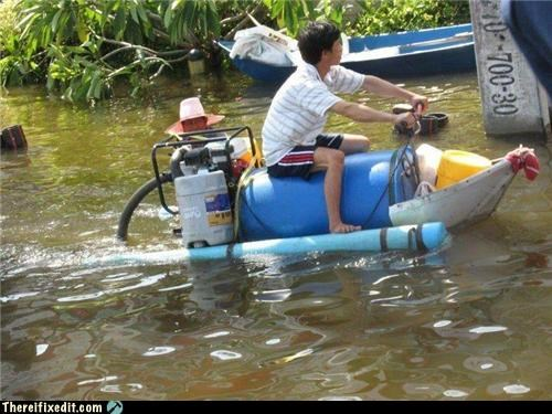 Home made Jet-Ski in Thailand flood.
