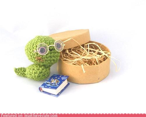 Amigurumi book bookworm box Crocheted green straw worm - 5402158336