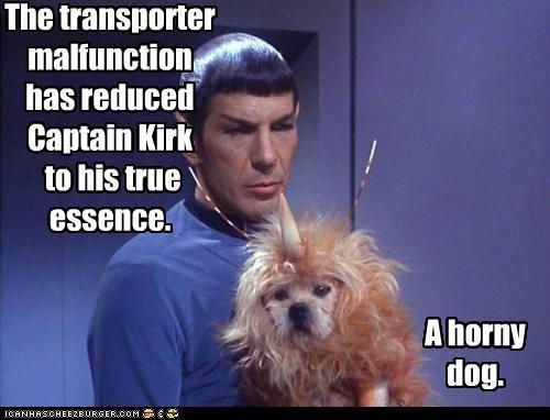Captain Kirk dogs Leonard Nimoy malfunction Spock Star Trek transporter - 5402453504
