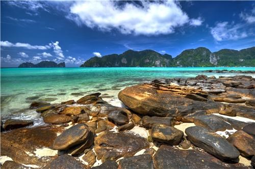 asia,beach,blue,clouds,getaways,krabi,rocky beach,southeast asia,thailand,vivid colors