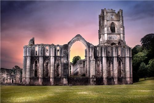 architecture england fountains abbey green purple UK united kingdom vivid colors - 5402594048