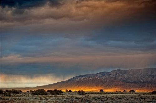 clouds desert getaways horizon new mexico north america rain sunbreak united states - 5402624768