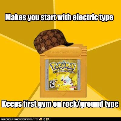 Makes you start with electric type Keeps first gym on rock/ground type