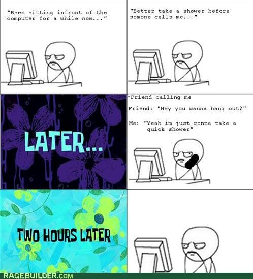 computer,hang out,Rage Comics,shower