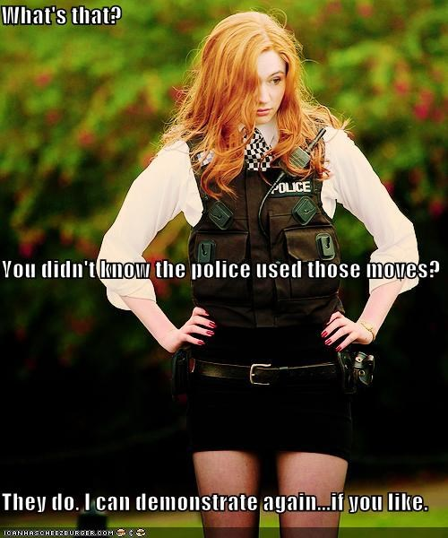 amy pond,demonstrating,doctor who,karen gillan,moves,police