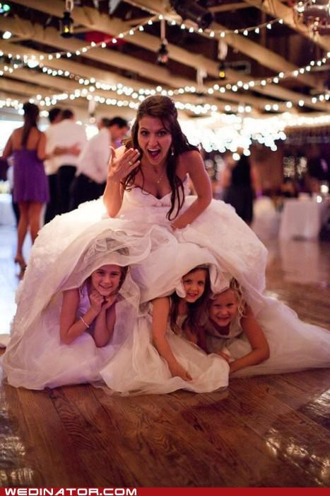 bride,bridesmaids,children,flower girls,funny wedding photos