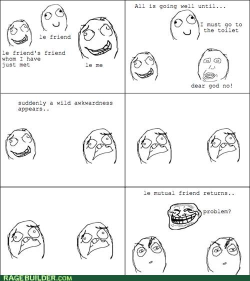 Awkward mutual friends Rage Comics silence