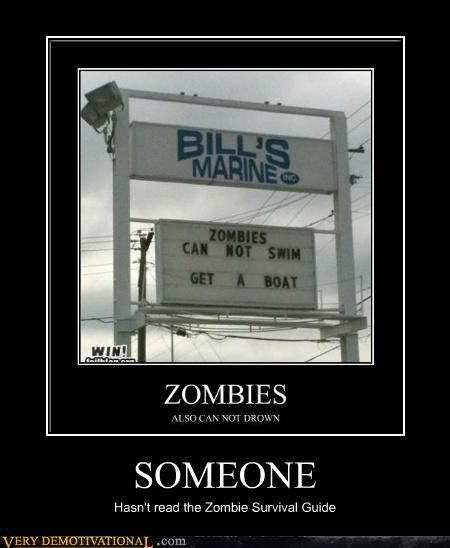 hilarious sign survival guide water zombie - 5405464832