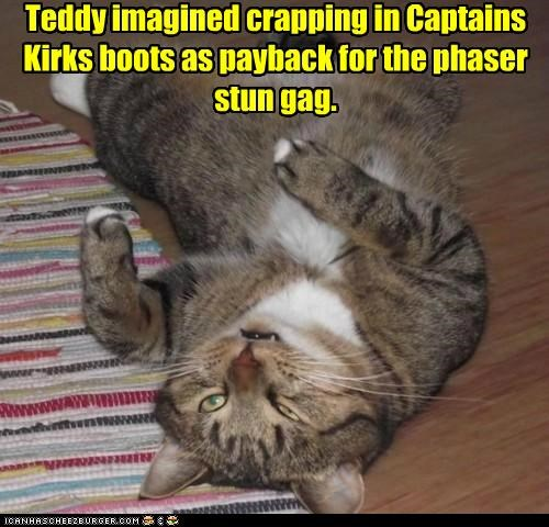 Teddy imagined crapping in Captains Kirks boots as payback for the phaser stun gag.