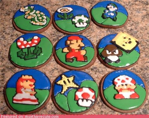 characters,cookies,epicute,icing,mario,nintendo