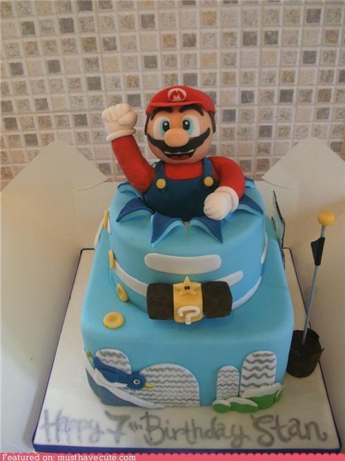 birthday,cake,epicute,flag,fondant,mario,nintendo