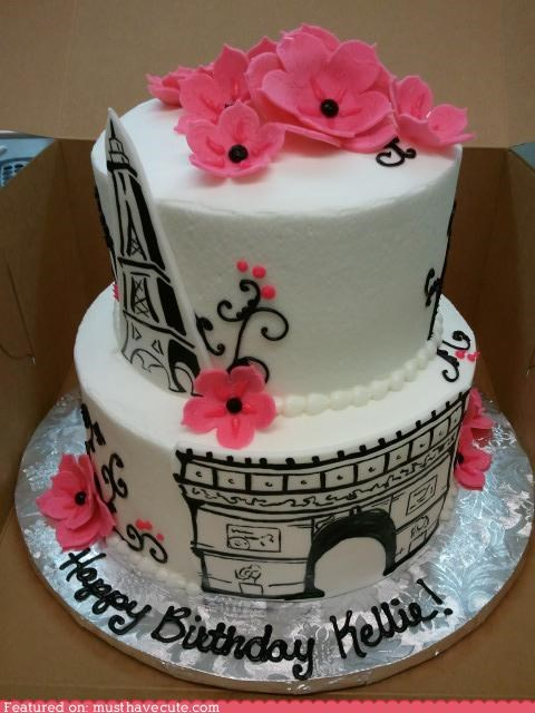Arc de Triomphe birthday cake eiffel tower epicute flowers frosting paris pink - 5406906368