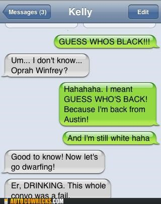 Austin autocorrect back black drinking dwarfing Oprah Winfrey white
