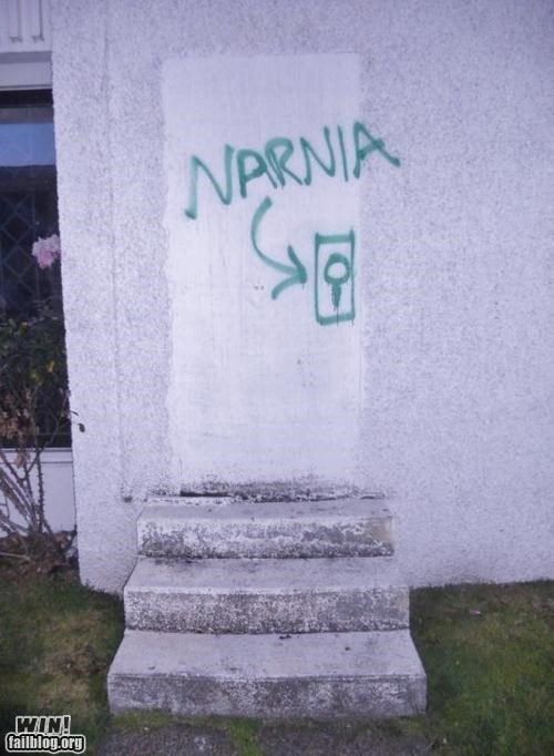 books,cs lewis,chronicles of narnia,graffiti,hacked irl,narnia,tag