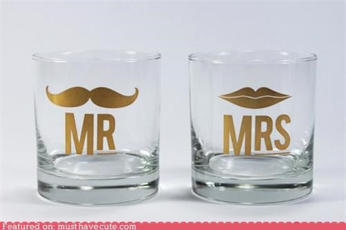 glasses gold hers his lips mr mrs mustache print - 5407584768