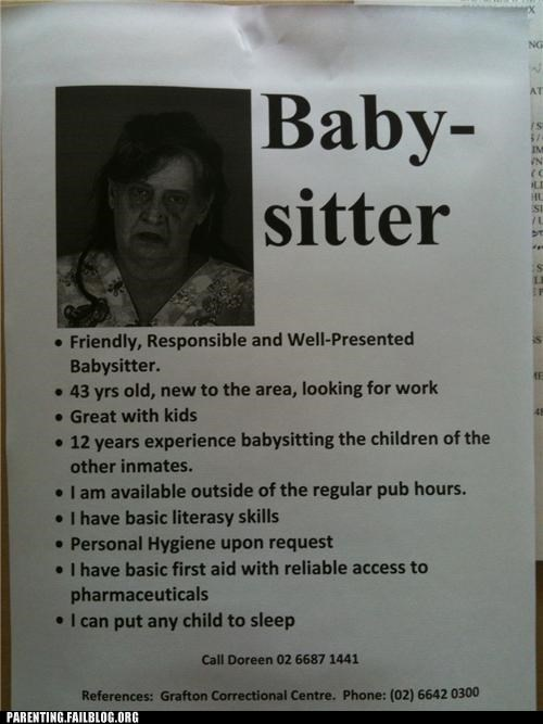 baby babysitter child care creepy inmate jail job offers Parenting Fail sign - 5407742464