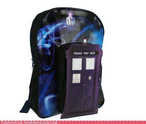 backpack bigger on the inside doctor who police box sci fi tardis
