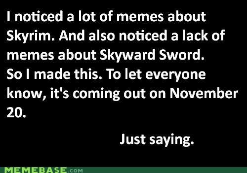 Memes Skyrim Skyward Sword video games zelda - 5407883776