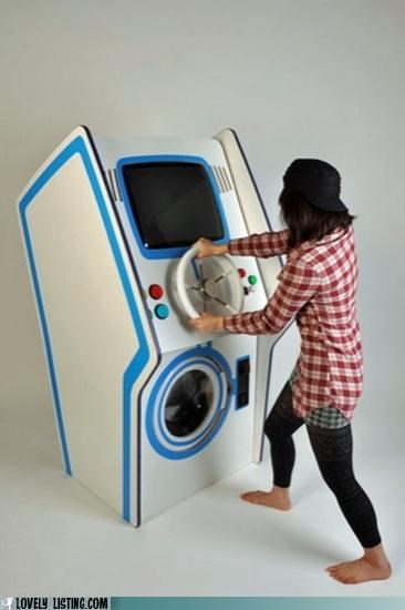 arcade game,laundromat,laundry,video game,washer