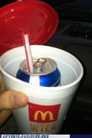 beer beer can bud light drunk driving fast food iced tea McDonald's pulled over secret sneaky straw - 5408259072
