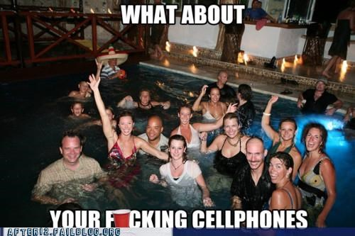 cell phones,drinking,forgot something,pool,pool party,swimming,whoops