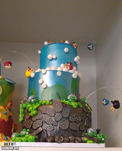 angry birds cake dessert food nerdgasm NES nintendo video games - 5408555008