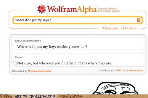 keys lost wolfram alpha