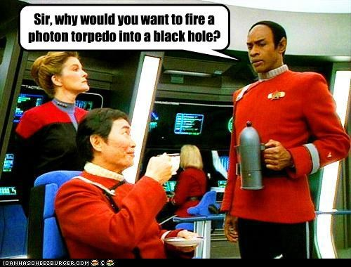 Sir, why would you want to fire a photon torpedo into a black hole?