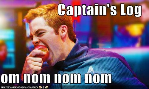 apple,Captain Kirk,captains-log,chris pine,om nom non,Star Trek