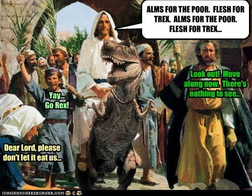 art,color,dinosaur,funny,illustration,jesus,religion,shoop