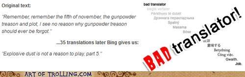 Bad Translator,explosive dust,Guy Fawkes,wtf