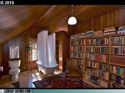 bathroom,bathtub,best of the week,books,library,toilet