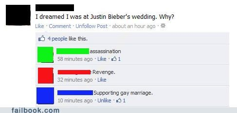 dream,justin bieber,marriage,wedding,witty reply
