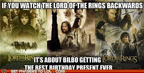 backwards best Bilbo Baggins birthday present Frodo Baggins Lord of the Rings ring