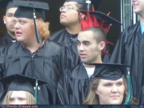 future employment opportunities,graduation,spiked hair