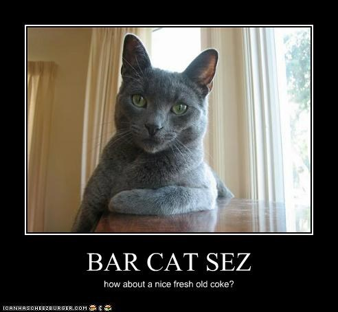 BAR CAT SEZ how about a nice fresh old coke?
