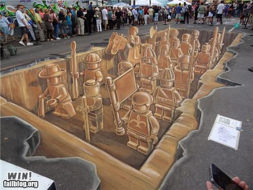 chalk,drawing,lego,nerdgasm,perspective,Street Art,toy