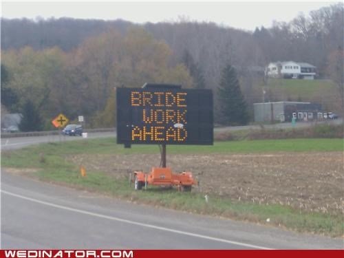bride funny wedding photos road sign - 5411793408