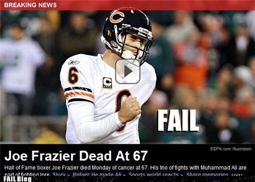 Breaking News colts fist pump indianapolis jay cutler Joe Frazier obituary sports