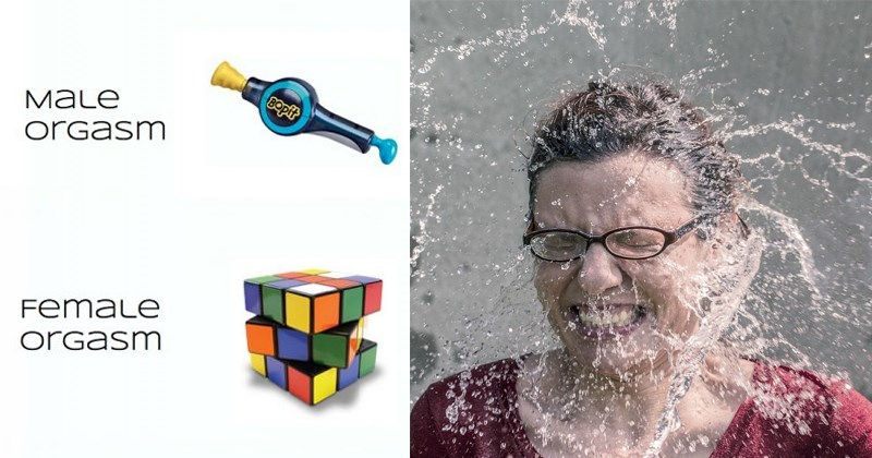 sexual memes, male orgasm compared to a bopit toy and female orgasm to a rubix cube, pic of a woman getting splashed in the face