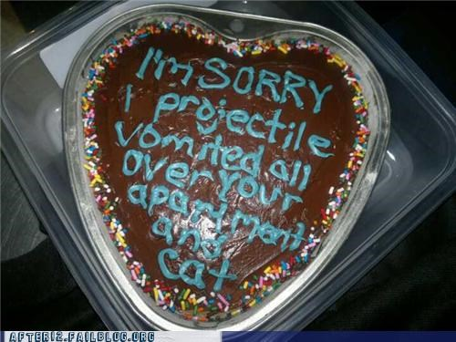 apology cake cat drunk gross Hall of Fame projectile vomit puking vomiting - 5412218368