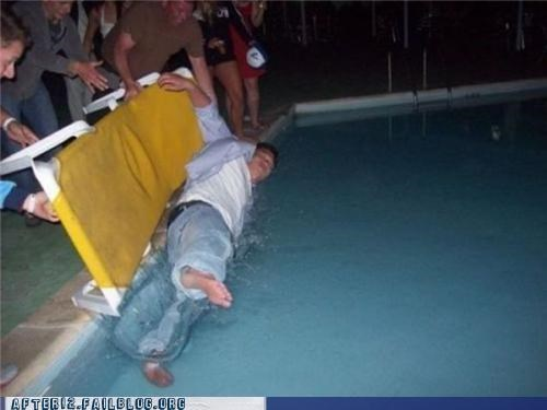 drunk,overboard,passed out,pool,pool party
