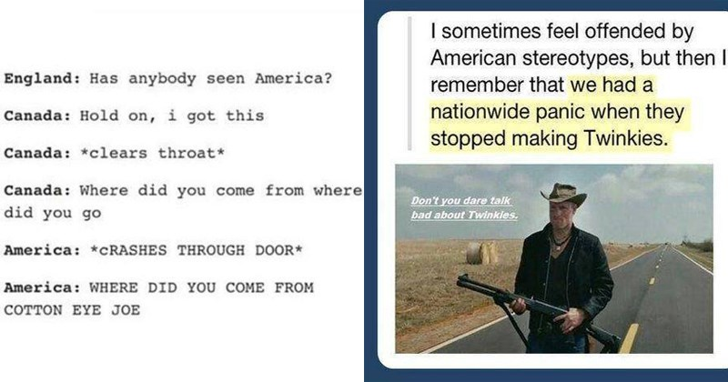 Funny memes about america, funny tumblr posts, american flag, funny, language, crowns, royalty, england, new zealand, australia, funny american memes, funny american tumblr.