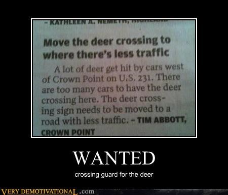 WANTED crossing guard for the deer