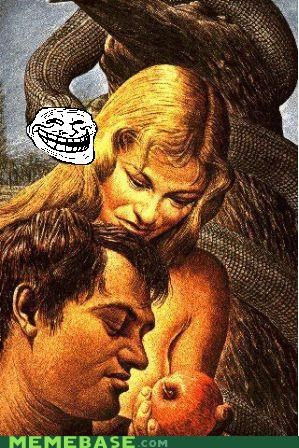 adam and eve,god,religion,sunday,the bible,troll face