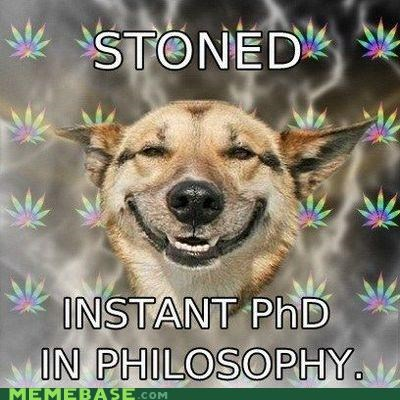 masters,Memes,phd,philosophy,school,stoner dog,weed