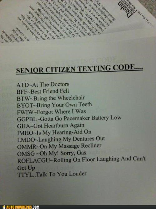 acronyms,Hall of Fame,old,senior,senior citizens,texting